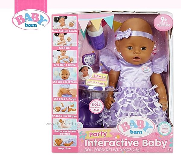 Baby Born Interactive Baby Doll Party Brown Eyes Бебі Борн Zapf Creations