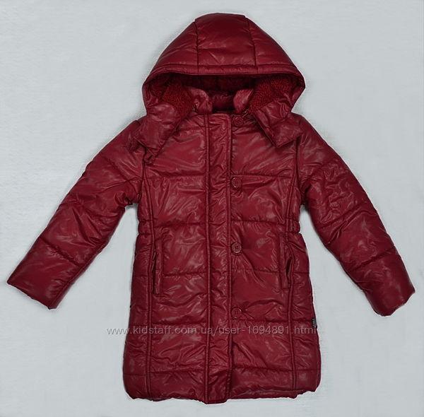 Зимняя куртка-пальто для девочки Dominika борд/синяя QuadriFoglio, Польша