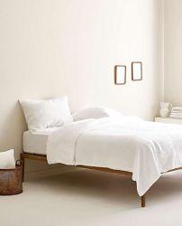 Молочное льняное постельное белье, евро комплект из льна