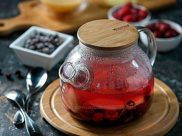 Заварочный чайник Wilmax Thermo с бамбуковой крышкой на 950 мл и 1600 мл