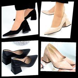 Женские остроносые натуральные кожаные замшевые туфли лодочки на каблуке