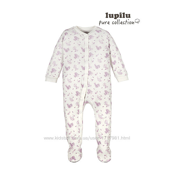 Человечек слип для девочки 1-2 мес Lupilu комбинезон пижама чоловічок