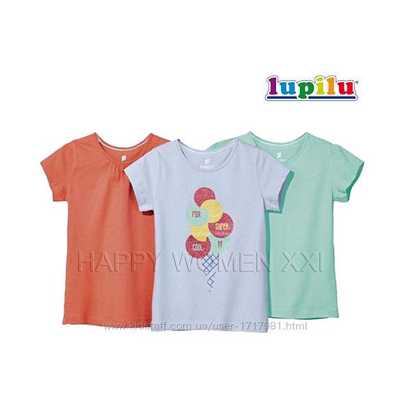 Набор футболок для девочки 1-2 года Lupilu детская футболка с принтом