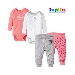 Набор для новорожденной девочки 0-2 мес Lupilu 4 предмета бодики штаны