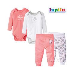 Набор для девочки 2-6 мес Lupilu 4 предмета бодик штаны ползунки Люпилю