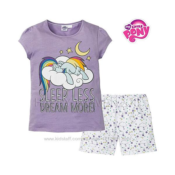 Летняя пижама для девочки 2-6 лет My little pony комплект шорты футболка