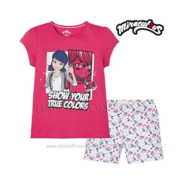 Летняя пижама для девочки 2-6 лет Miraculous комплект шорты футболка