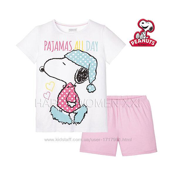 Летняя пижама для девочки 2-6 лет Peanuts комплект шорты футболка