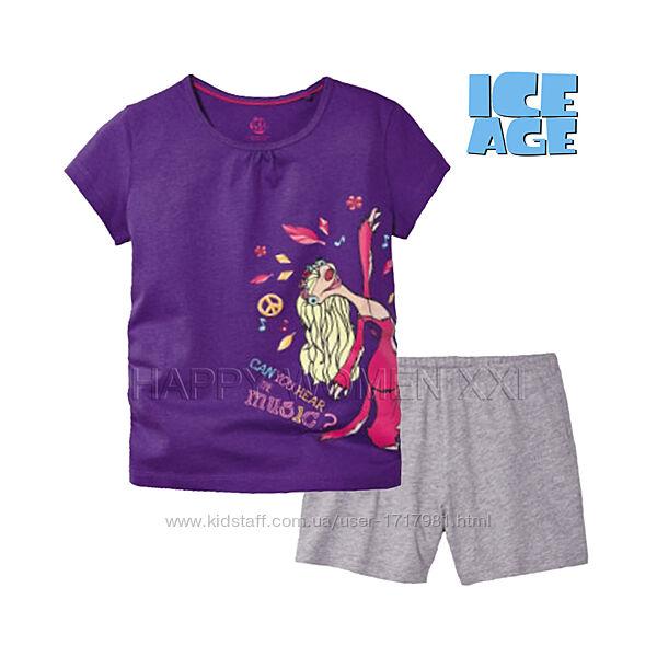 Летняя пижама для девочки 4-6 лет Ice Age комплект шорты футболка