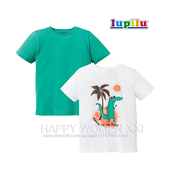 Набор футболок для мальчика 4-6 лет Lupilu детская футболка рисунок хлопок