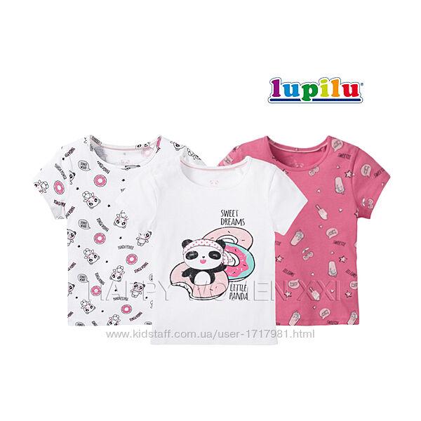 Набор футболок для девочки 4-6 лет Lupilu детская футболка с принтом хлопок
