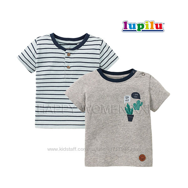 Набор футболок для мальчика 6-12 м Lupilu детская футболка на малыша дитяча