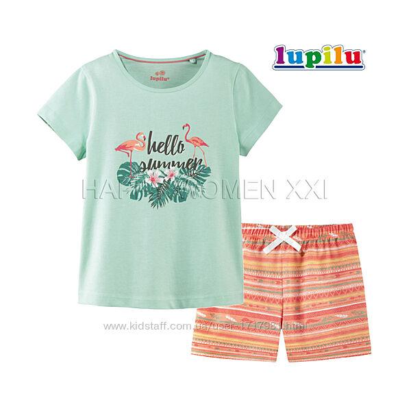 Летняя пижама для девочки 2-6 л комплект летний хлопковый футболка шорты