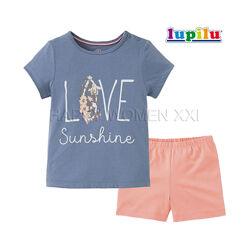 Летняя пижама для девочки 2-4 года Lupilu комплект шорты футболка шортики