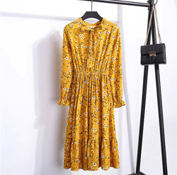 Желтое платье горчичное шифоновое принт ромашки жовта сукня гірчичне плаття