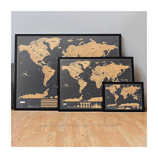 Стираемая скретч карта мира путешествий в тубусе Travel scratch map