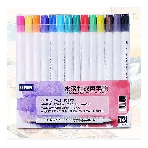 Набор двусторонних акварельных маркеров STA 14 цветов Touchfive Copic