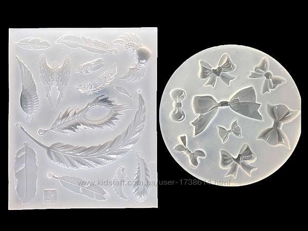 Молд, силиконовые формы для кулонов, листики, бантики из эпоксидной см