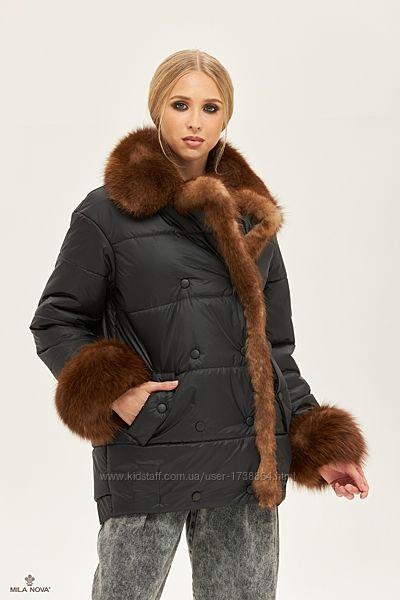 Женская теплая зимняя куртка с отделкой из натурального меха песца