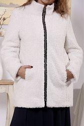 Шубка-куртка белая меховая  искусственная на утеплителе размеры42-74