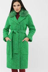Шикарное яркое  женское пальто с песцом размеры 42-48