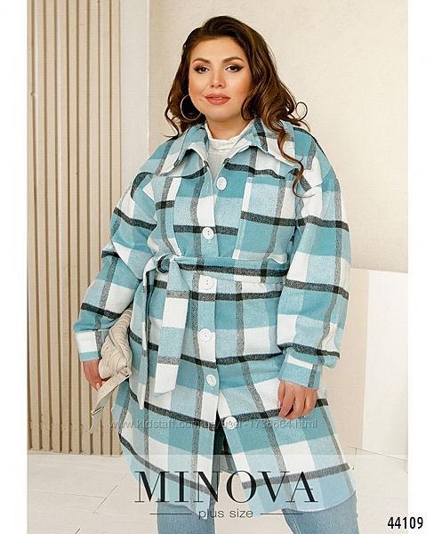 Пальто  рубашка крадиган в клетку без подкладки размеры 48-58 М-44108