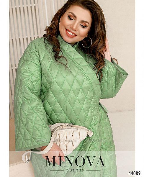 Куртка -кимано женская весенняя яркая стеганая размеры 46-62 код М 44089
