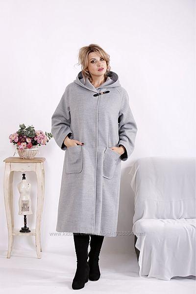 Пальто женское длинное демисезонное с капюшоном размеры42-74
