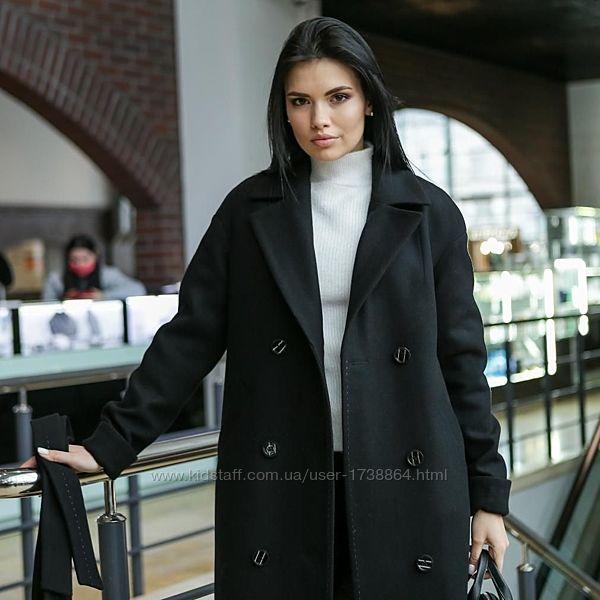 Пальто женское демисезонное длинное теплое двубортное размеры40-52
