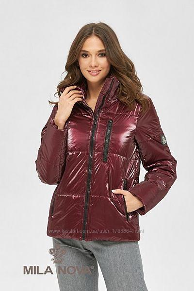 Куртка женская демисезонная на молнии из блестящей плащевки размеры44-50