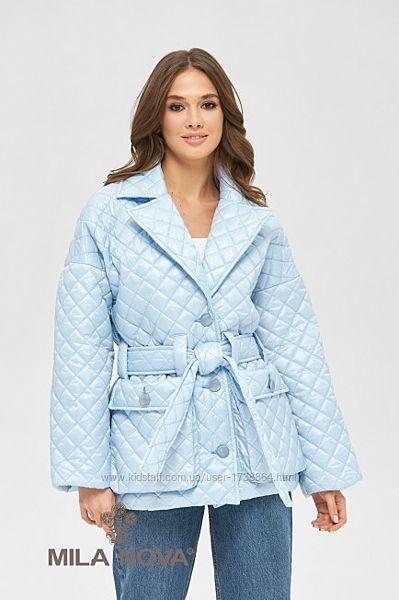 Куртка женская демисезонная стеганая с поясом размеры44-50
