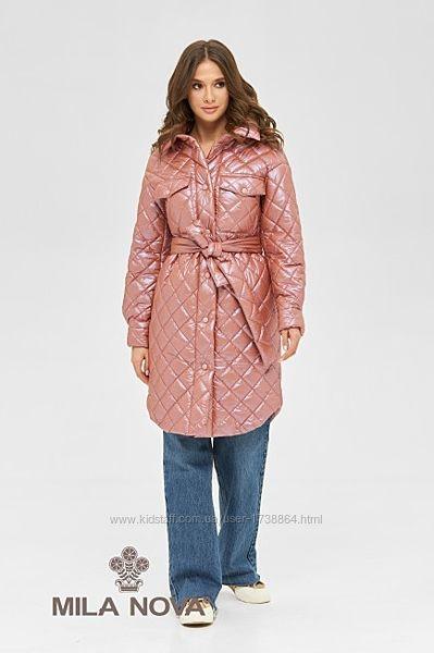 Пальто рубашка женская стеганая с поясом демисезонное размеры 42-50