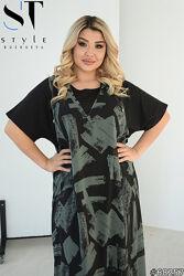 Женское платье двойка шифоновое в пол размеры 52-66