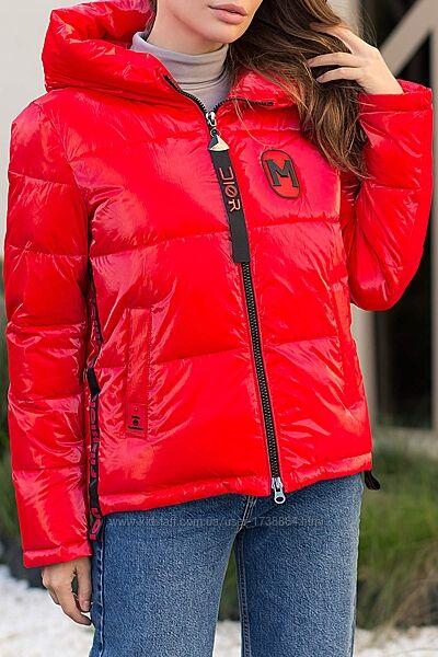 Куртка женская короткая зимняя с капюшоном размерыS-2XL