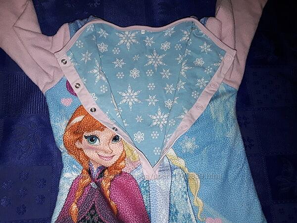 Двусторонняя пижама слип Дисней Фрозен на 3-5 лет, Frozen Анна и Эльза.