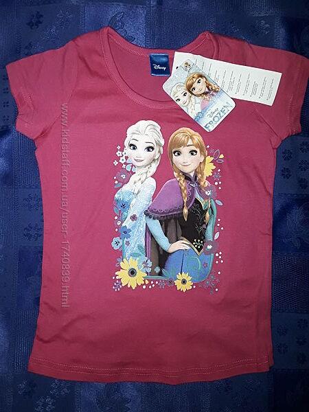 Красивая футболка Фрозен Анна и Эльза на 3-8 лет, хлопок, Дисней.