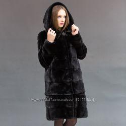 Норковая шуба Blackglama , поперечка капюшон, 100 см новая мех как плюш