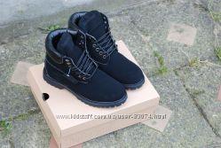 Зимние ботинки Timberland Classic 6 inch black с мехом, теплые Реплика ААА