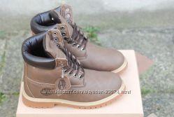 Зимние ботинки Timberland Classic 6 inch brown с мехом, теплые Реплика ААА