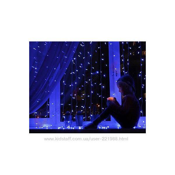Светодиодные LED гирлянды ШТОРА ВОДОПАД, Бахрома, сетка, дождь