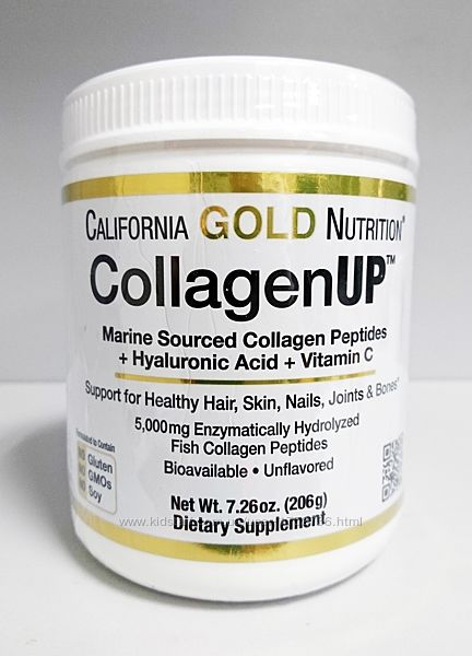 Рыбий морской коллаген California Gold Nutrition CollagenUP 5000, 206 г