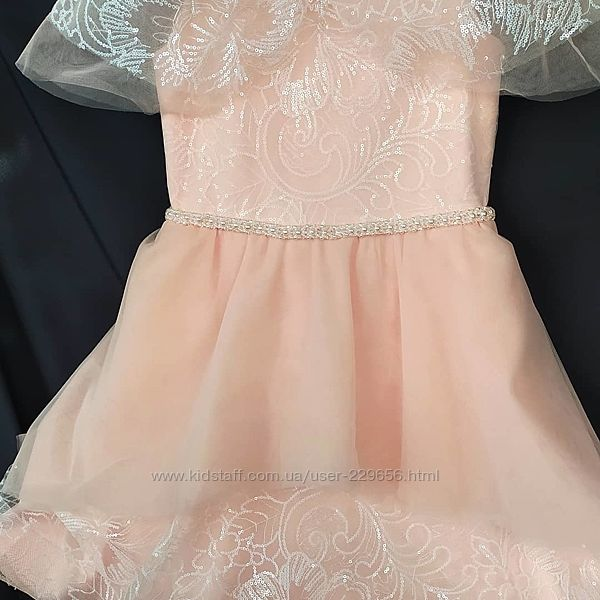 Бальное пудровое платье для девочки