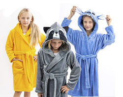 Теплые халаты унисекс енот, Пикачу, Стич, единорог