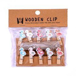 Прищепки деревянные декоративные с фигуркой Фламинго