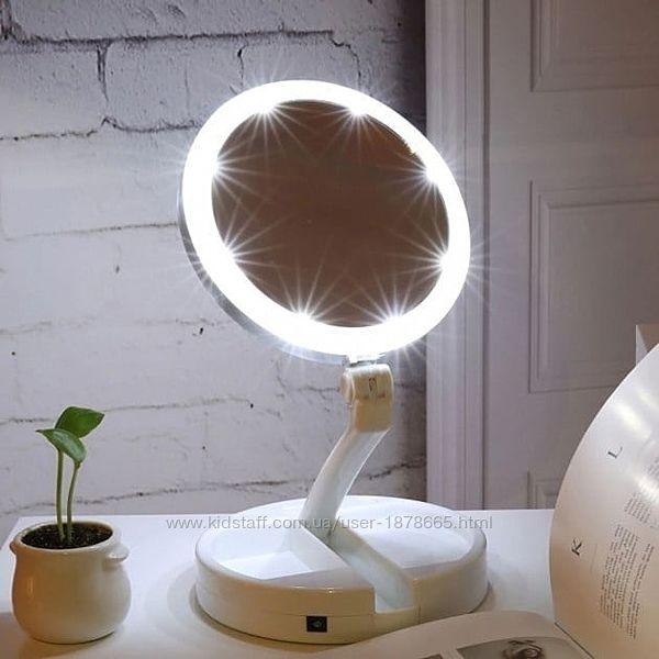 Настольное зеркало с led подсветкой  складное