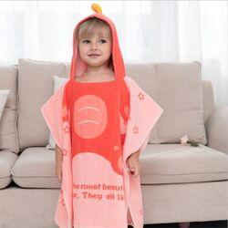 Детское Полотенце Пончо  Пляжное Полотенце с Капюшоном Солнечный Дино