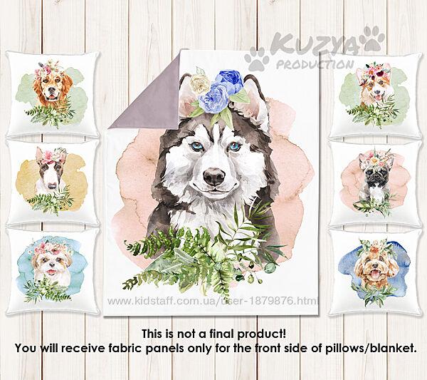 Набор сатиновых панелей для пошива бортиков и одеяла в кроватку Собачки  3