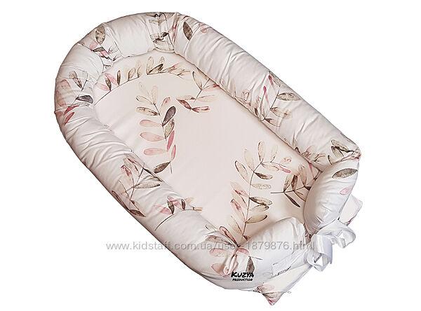Кокон-позиционер для новорожденных со съемным чехлом и матрасом Веточки