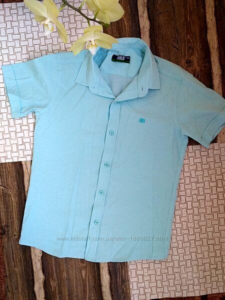Светло-бирюзовая рубашка 146см