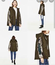 Парка с пайетками на рукавах Zara р. S